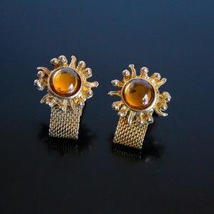 Vtg Wrap Around Jeweled STARBURST Cufflinks